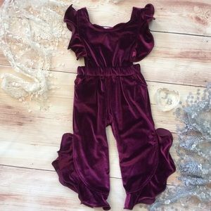 Boutique Girls burgundy velvet ruffle romper